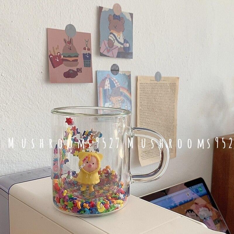 [بيع السعادة] الأطفال الإبداعية متعة Kawaii اللون ستار القمر حماه شفافة مزدوجة كوب ماء زجاجي الفتاة القلب كوب