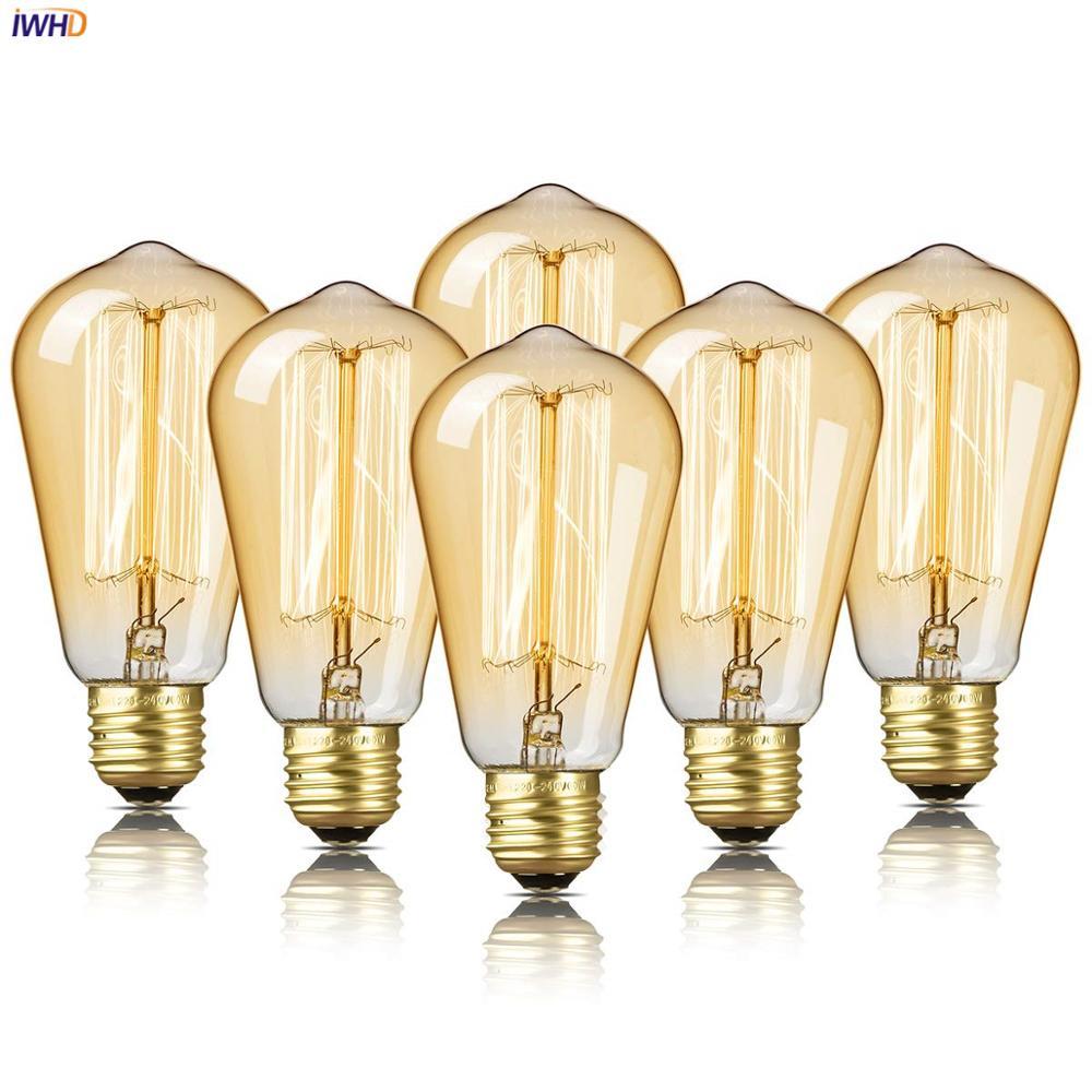 IWHD A19 ST58 40W Ampul אדיסון אור הנורה E27 220V לופט תעשייתי דקור Lampara רטרו בציר מנורת אמפולה ומביליה Gloeilamp