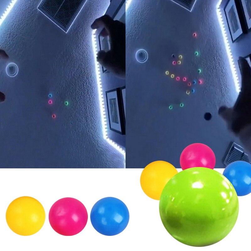 Светящиеся шарики-наклейки размером 45 мм/60 мм, Стикеры для стен, сквош-шарики, мячи для Сквош-шарики, детские игрушки