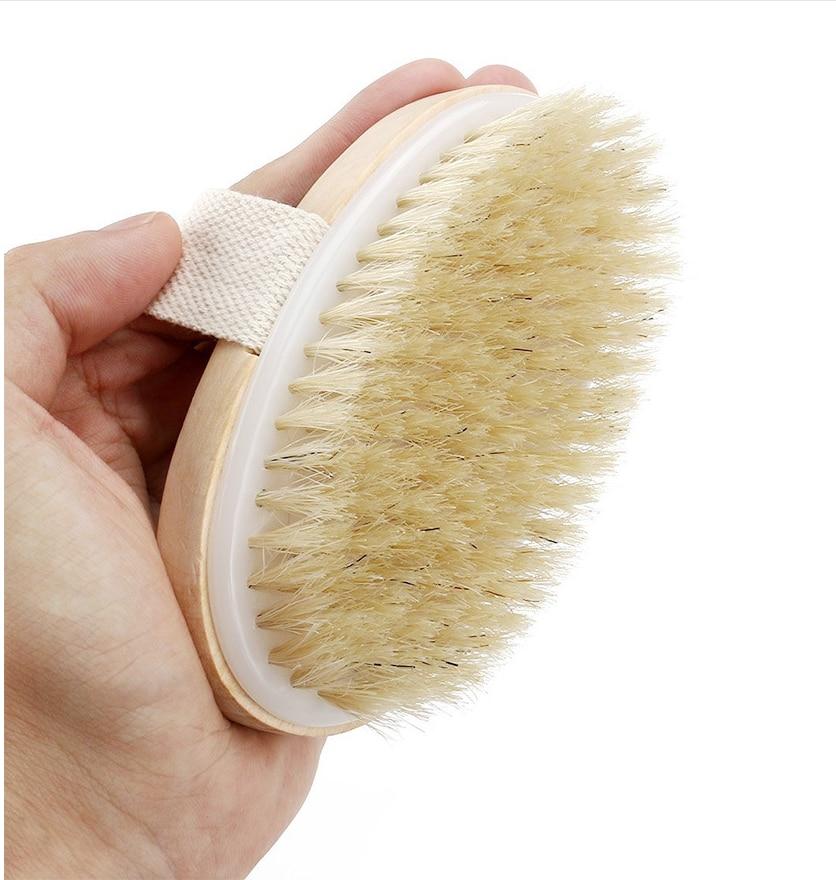 Natural Bristle Body Brush for Massage Exfoliating Wooden Shower Brush Dry Brushing Body Brush Woman Man Skin Care Body Brush недорого