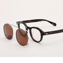 Lunettes de soleil à Clip pour hommes et femmes   Lunettes de soleil Johnny Depp avec monture en acétate, lunettes de soleil Vintage de marque de qualité supérieure 003