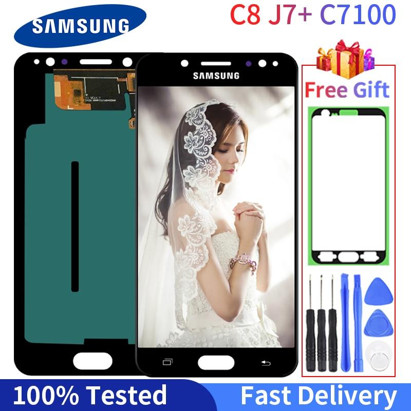 Super Amoled Lcd Voor Samsung Galaxy C7 2017 C8 Lcd Display C7100 C710 Lcd Touch Screen Digitizer Vergadering Met Gratis gift