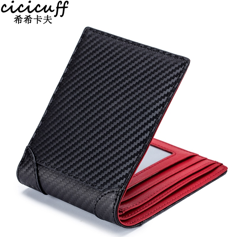 2021 RFID Men's Leather Wallet Fashion Carbon Fiber Small Card Holder Purses Ultrathin Simple Short Wallet for Man Drop-shipping