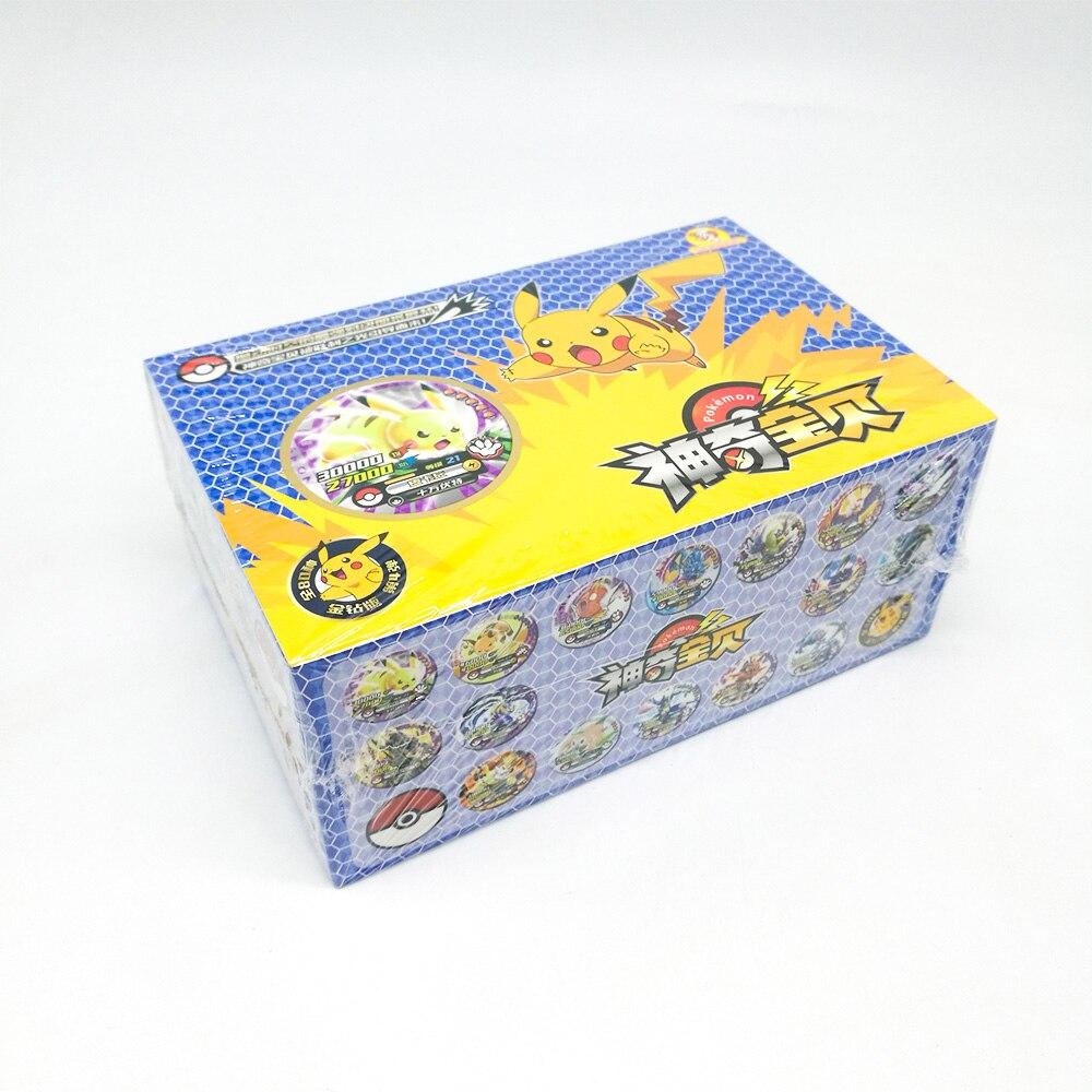 Juguetes De TAKARA TOMY 288 Uds., juego de mesa para niños, colección de tarjetas Pikachu redondas, 12 Uds./caja 24 cajas/juego de mesa para regalo de niños