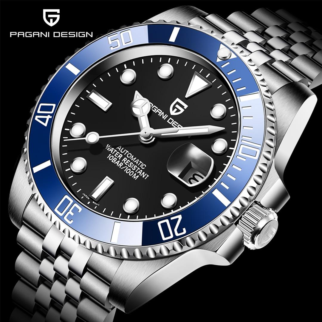 2021 جديد Pagani تصميم الرجال التلقائي ساعات آلية للرجال 8215 الياقوت الكريستال الغوص ساعة اليد ساعة رجل Reloj Hombre
