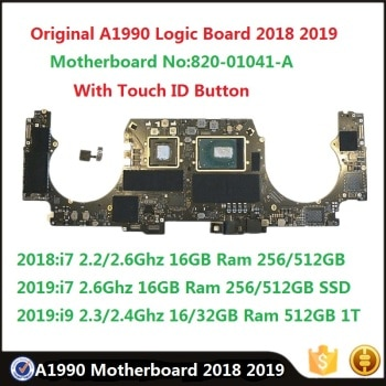 Original A1990 Logic Board With Touch ID 2.3/2.6Ghz i7 i9 16GB 32GB Ram 256/512GB 1T Motherboard For MacBook Pro 15