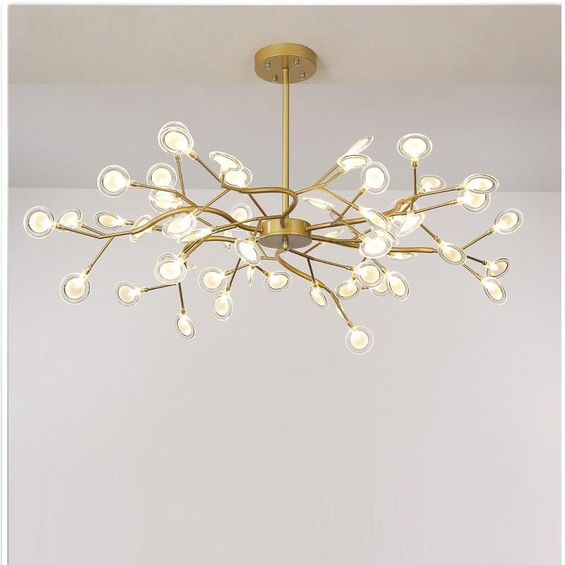 الحديثة اليراع LED الثريا ضوء أنيق شجرة فرع الثريا مصباح الزخرفية اليراع السقف الثريا الإضاءة شنقا