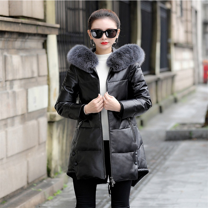 Plus Size 5XL 2020 Winter New Leather Hooded Fox Fur Collar Down Jacket Female  Sheep Skin Large Size Down Leather Jacket 887