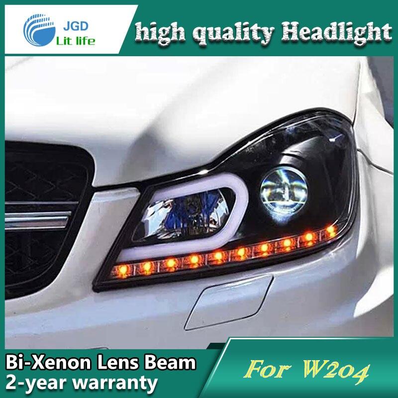 Cubierta de faro delantero de estilo de coche para Benz W204 2011-2013 faros delanteros LED DRL lente doble haz bi-xenon HID Accesorios