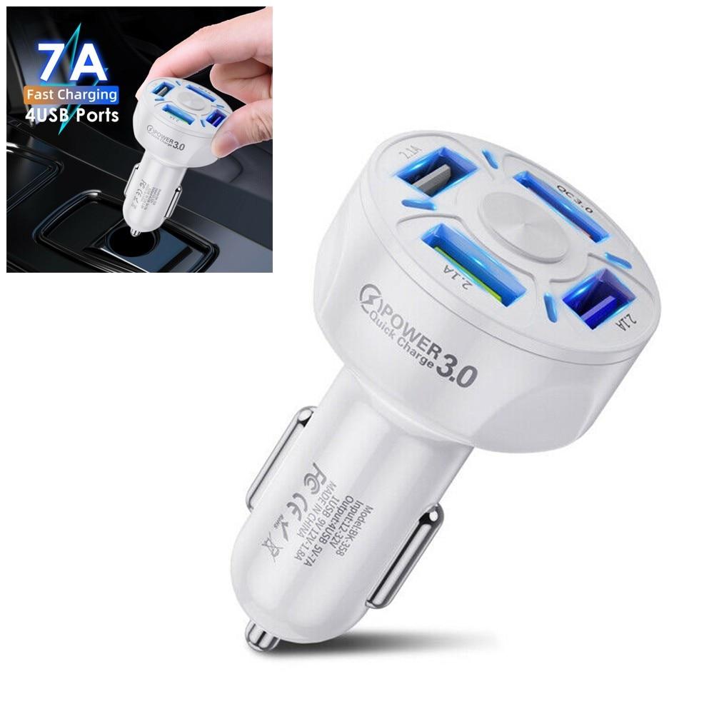4 порта USB для автомобильного зарядного устройства адаптер со светодиодный ным дисплеем QC 3,0 Быстрая зарядка аксессуар зарядное устройство ...