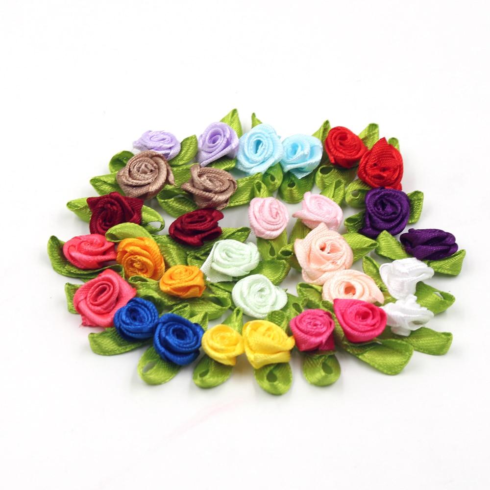 50 pz/lotto di Seta Bow-Knot Mini Rosetta per la Casa Festa di Nozze Torta Del Nastro del legame di