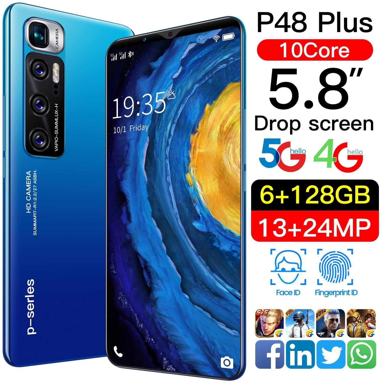 Andriod 10 Smartphones P48 Plus 5.8 Inch 6GB RAM 128GB ROM Global Version 13+24MP 10 Core MTK6889 Dual SIM 4G LTE 5G Cell Phone