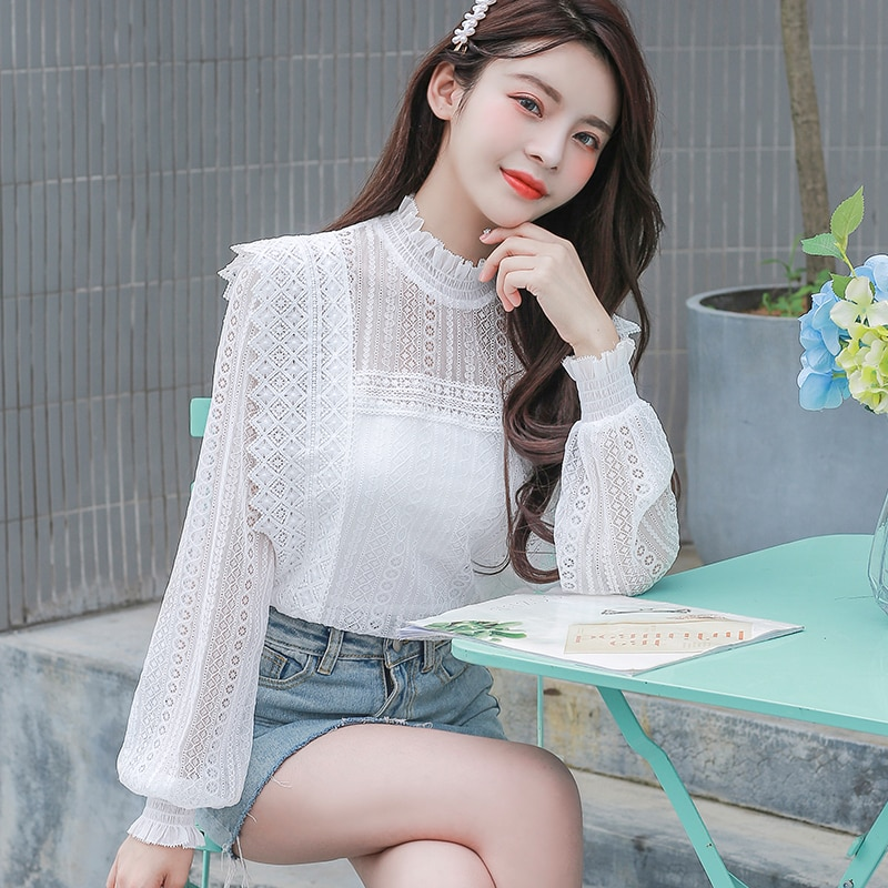 blusas mujer de moda 2020 Autumn New White Shirt Top Women's Blouse Korea Style Hollow Out Long Sleeve Lace Shirt 810E