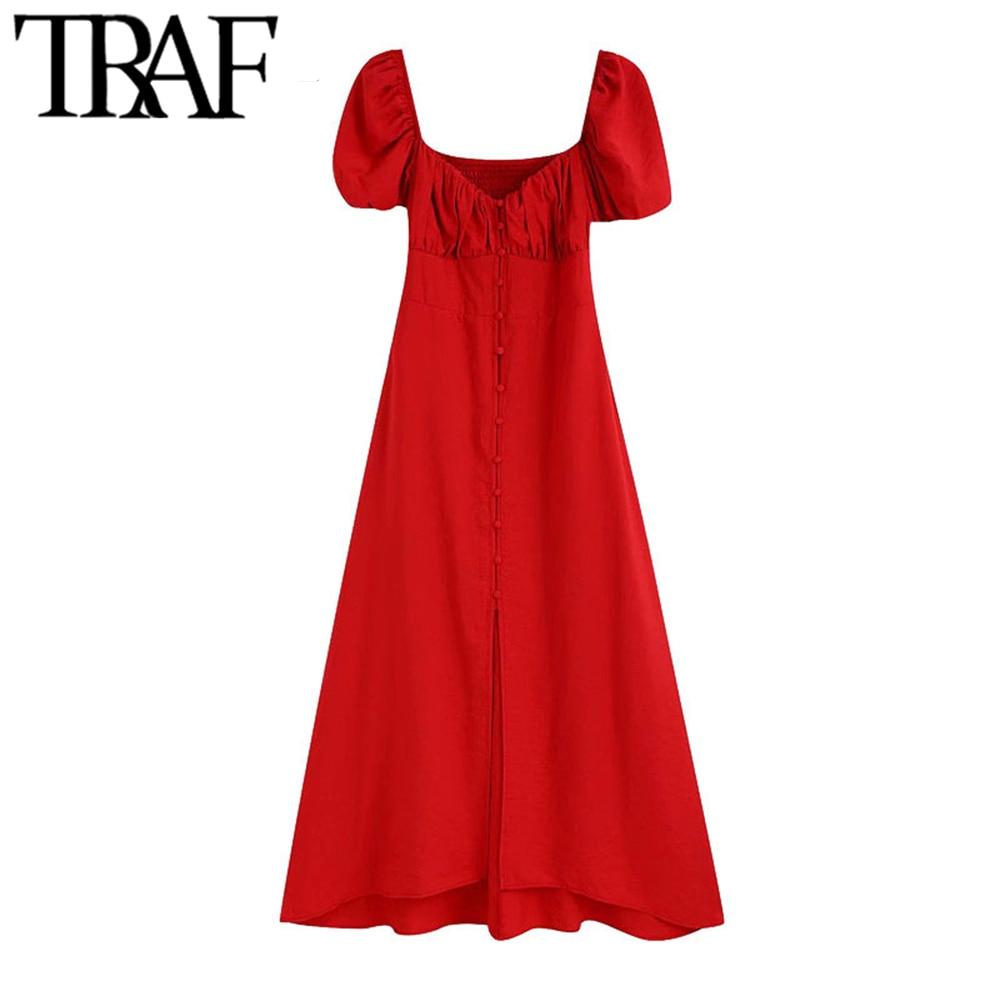 TRAF-فستان نسائي متوسط الطول بأزرار ، أنيق ، عتيق ، أكمام منتفخة ، ظهر مدخن ، تفاصيل ، ملابس نسائية