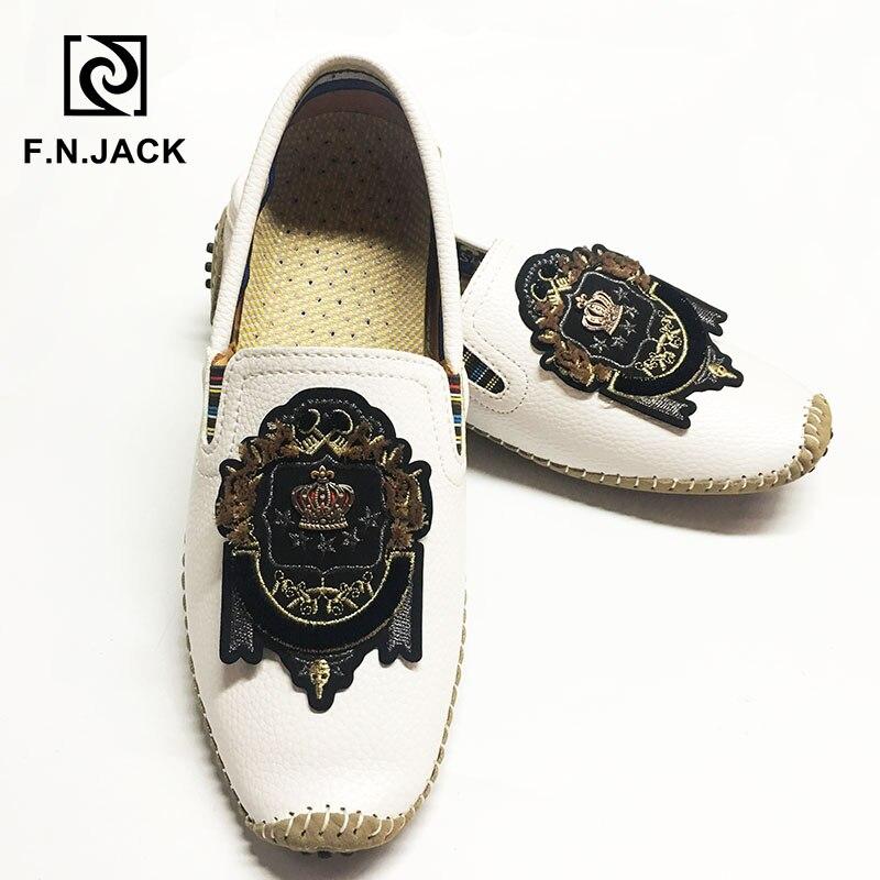 F N JACK de talla grande zapatos 46 47 48 Mens mocasines casuales zapatos de goma para hombres cuero de moda mocasines de conducción de los hombres zapatos de senderismo zapatos de hombre
