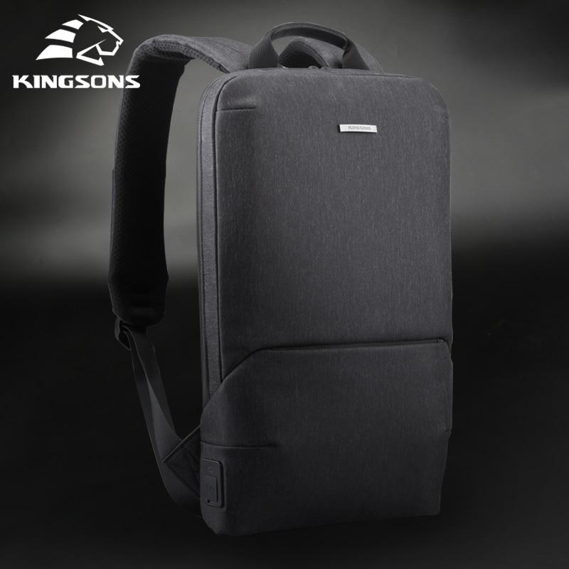 Kingsons New Thin 15'' Laptop Backpacks Men Women Business Backpack Office Work Bag Unisex Gray Ultr