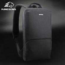 Kingsons New Thin 15'' Laptop Backpacks Men Women Business Backpack  Office Work Bag Unisex Gray Ult