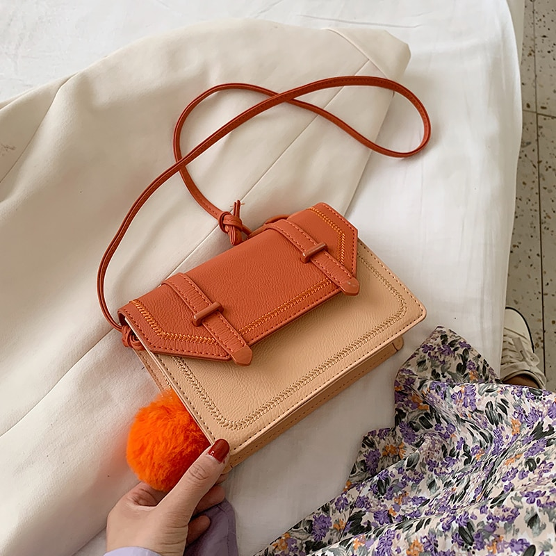 Contrast Color 2020 Fashion Small PU Leather Crossbody Bags For Women Shoulder Bag Female Handbags And Purses Sac A Main Femme