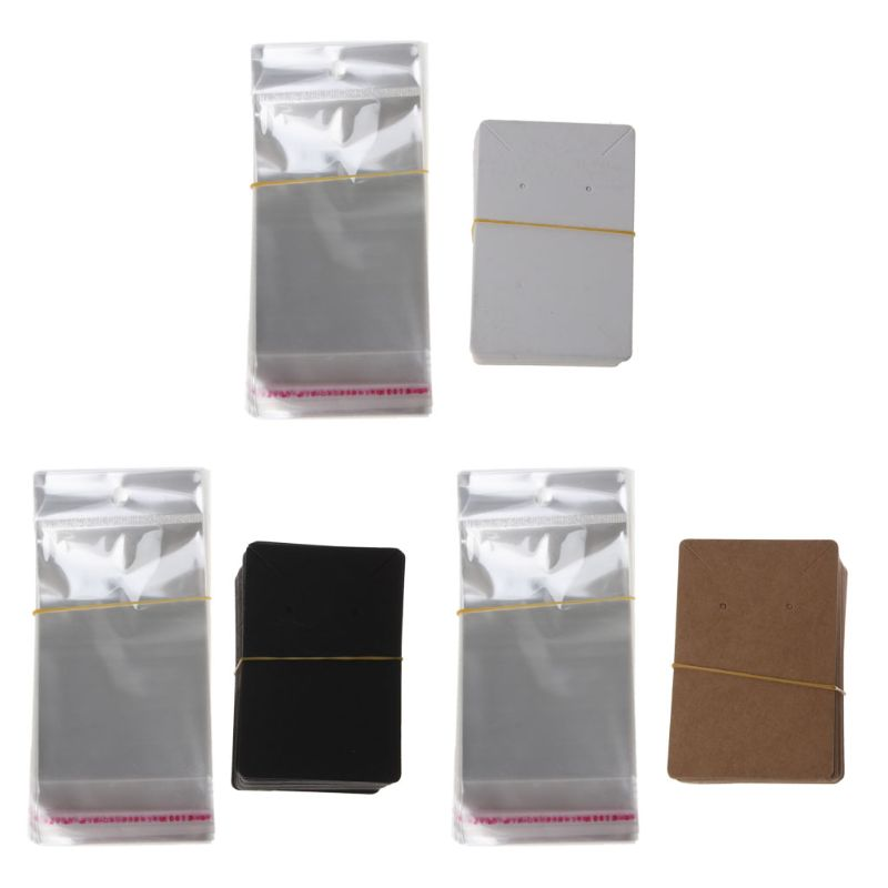 100Pcs Blank Kraft Paper Jewelry Packaging Card Tags Used For Necklace Earring Display Cards with Self-Seal Bags