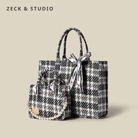luxury plaid designer tote handbag for women 2021 lady fashion trends brand silk scarf beaded portable shoulder bag shopping bag