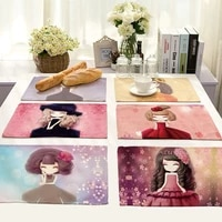 cute anime girl printing placemats dining restaurant kitchen decor tableware mat coffee coaster cotton linen home textile pad