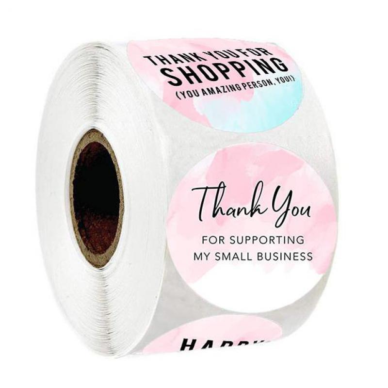 rosa-grazie-adesivi-per-sostenere-la-mia-attivita-500pcs-1-''cerchio-etichetta-sigillo-di-carta-fatta-a-mano-regalo-di-imballaggio-di-cancelleria-sticker
