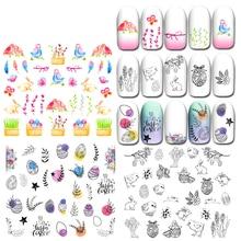 1PC new Design Easter Egg Nail Art Sticker Rabbit Cartoon English DIY Water Decal Manicure Watermark Tattoo Slider Nail Wrap