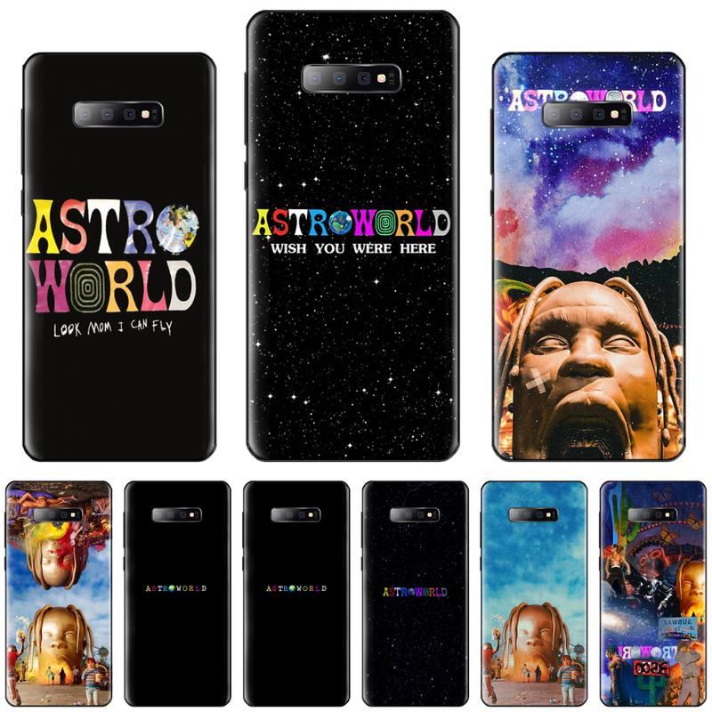 Astromundo cantor travis scott eua tpu preto caso de telefone casco para samsung s6 s7 borda s8 s9 s10 e plus a10 a50 a70 note8 j7 2017