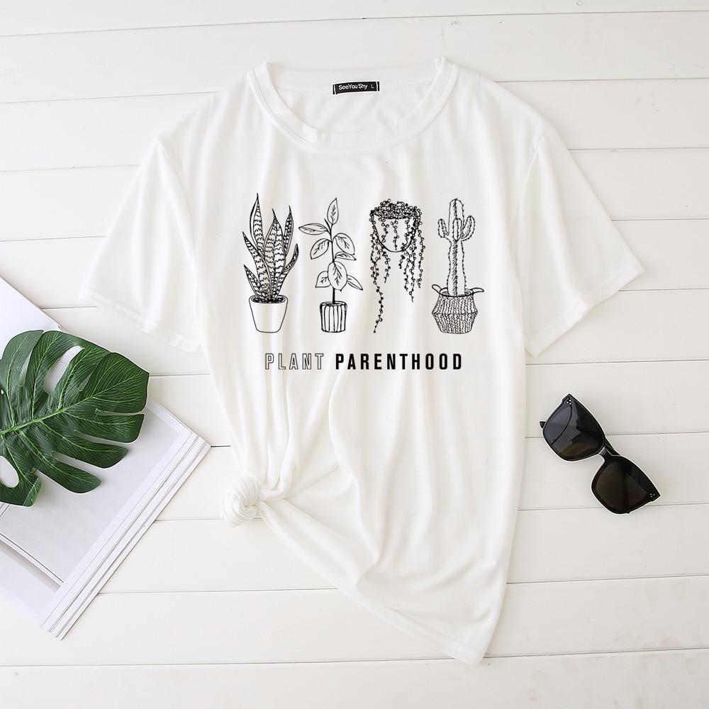 Seeyoushy, Camiseta con estampado de plantas Para Mujer, plantas suculentas veganas, Cactus, camiseta gráfica de verano, Ropa Para Mujer