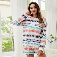 homewear tie dyed pajama sets loungewear cotton pyjamas loose waist long sleeve shirts two piece shorts suits for women pullover