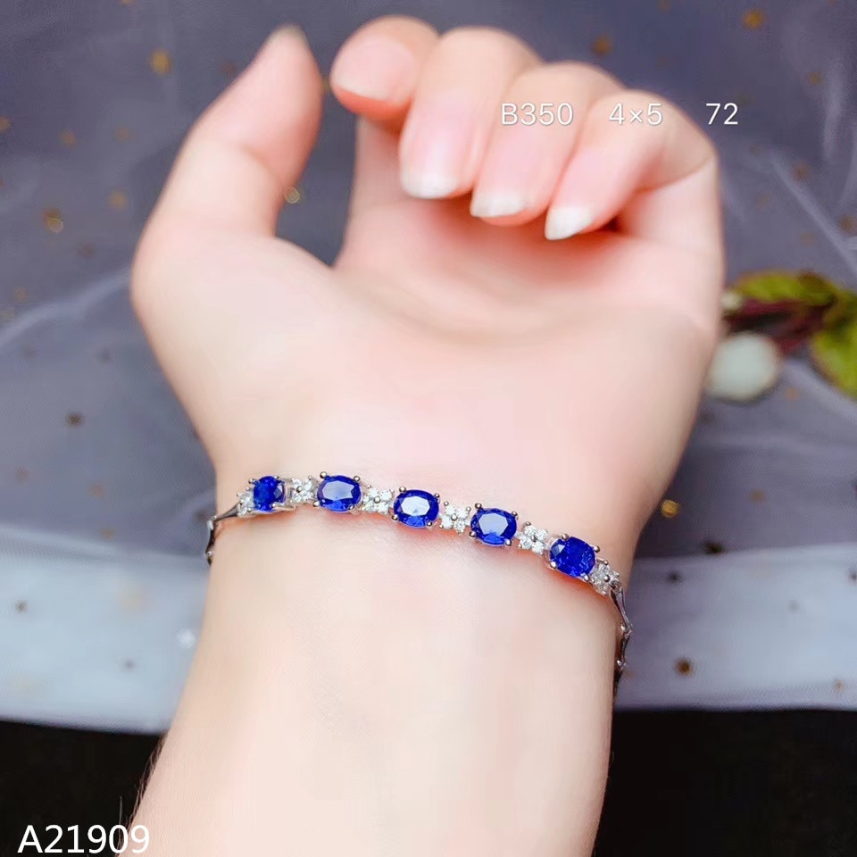 KJJEAXCMY fine jewelry 925 sterling silver inlaidl sapphire female bracelet support detection luxury