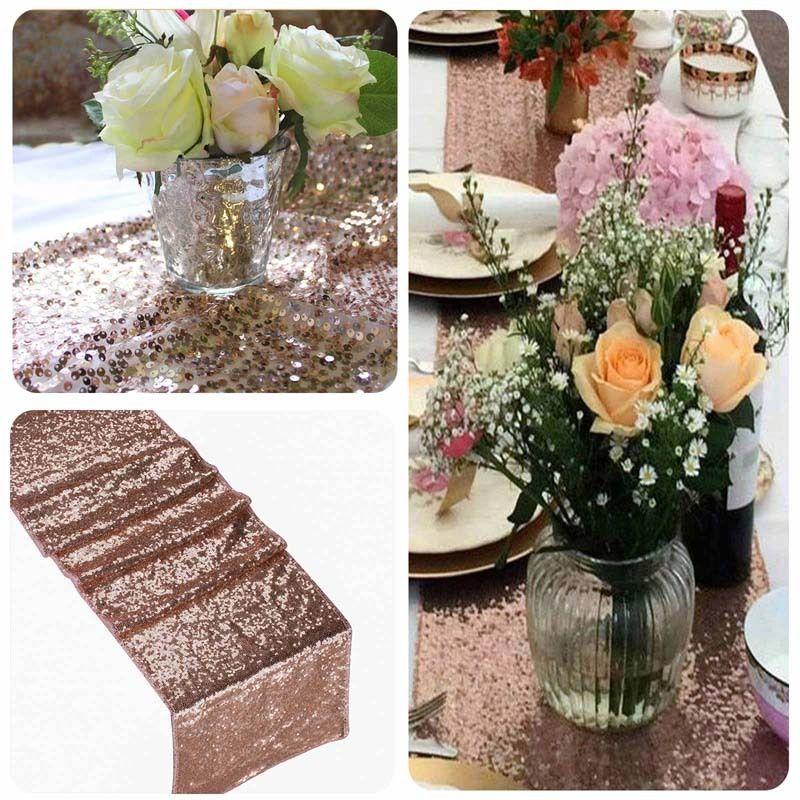 30x180/275/300cm de gran tamaño lentejuelas camino de mesa decoraciones de mesa de banquete de boda camino de mesa oro plata Rosa oro champán 1 pieza