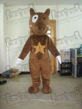 quality star dog mascot  costumes cartoon star brown puppy mascot design