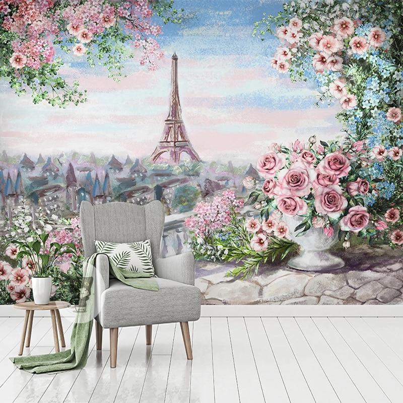 Настенные 3D-обои любого размера на заказ, ручная роспись, цветы, городское здание, Френки, гостиной, ТВ, дивана, спальни, фон для украшения стен