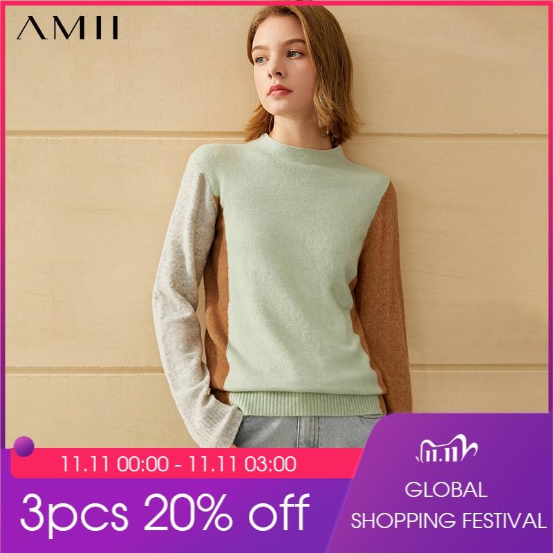 Amii минимализм зимний модный женский свитер Повседневный лоскутный облегающий женский свитер с высоким воротом Женский пуловер 12040571