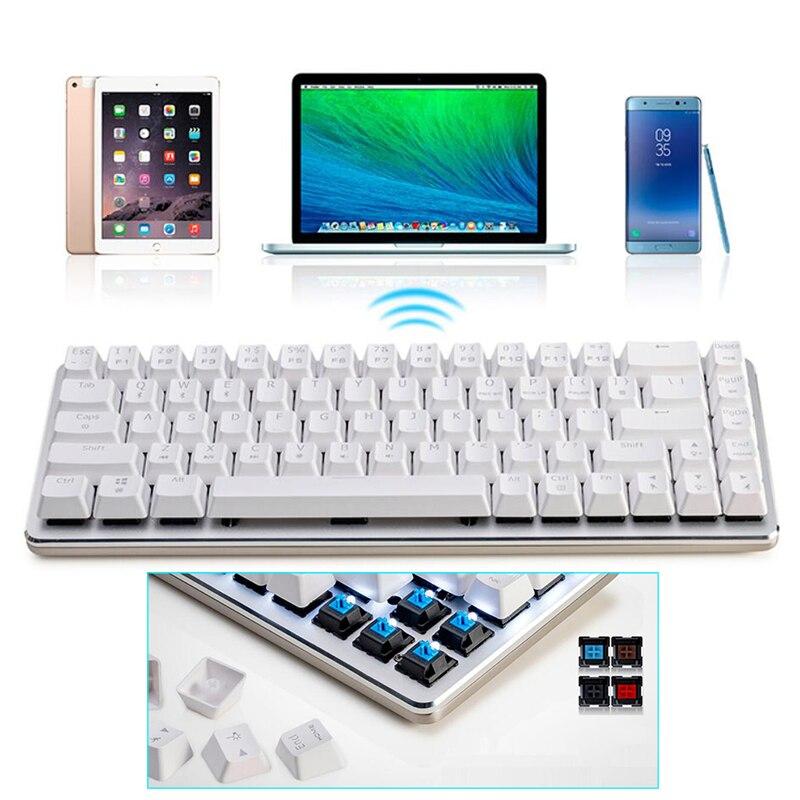 Ajazz zinco teclado mecânico sem fio duplo-modo bluetooth + wired cherry switch placa de alumínio 68 teclas jogo teclado mecânico