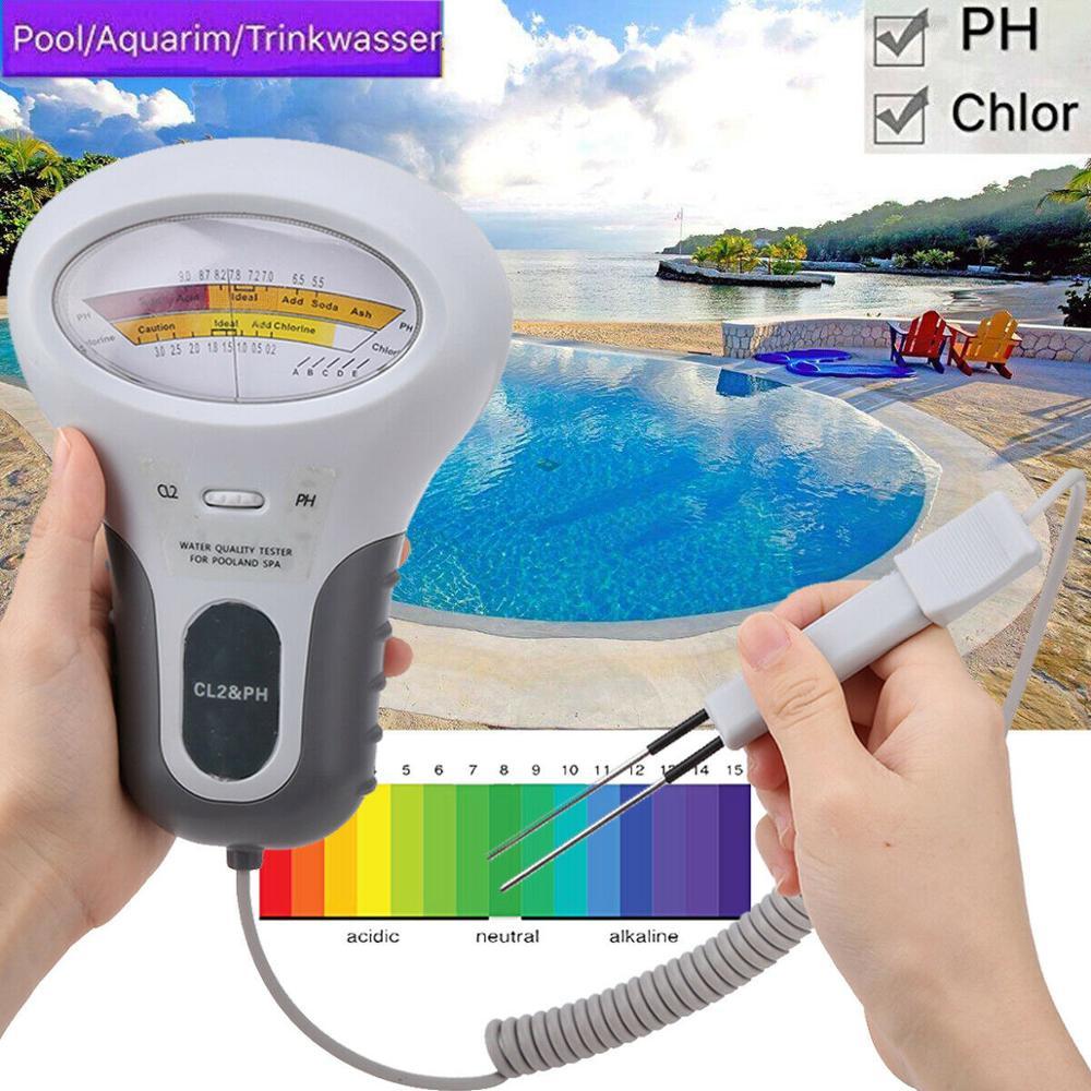 Medidores de cloro, probador de PH 2 en 1, probador de calidad del agua, dispositivo de prueba CL2, medición para piscina, acuario, agua potable