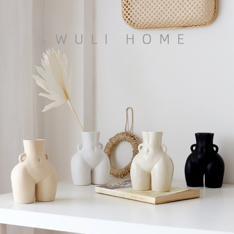Nordic Human Body Ceramics Vases Home Decoration Accessories Office Dining Table Flower Arrangement Container Dried Flower Vases