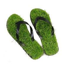 Eenvoudige Mode Mannen/Vrouwen Gazon Slippers Massage Faux Gras Slides Schoenen Grote Maat 45 Platte Comfortabele Vrouwelijke strand Slippers