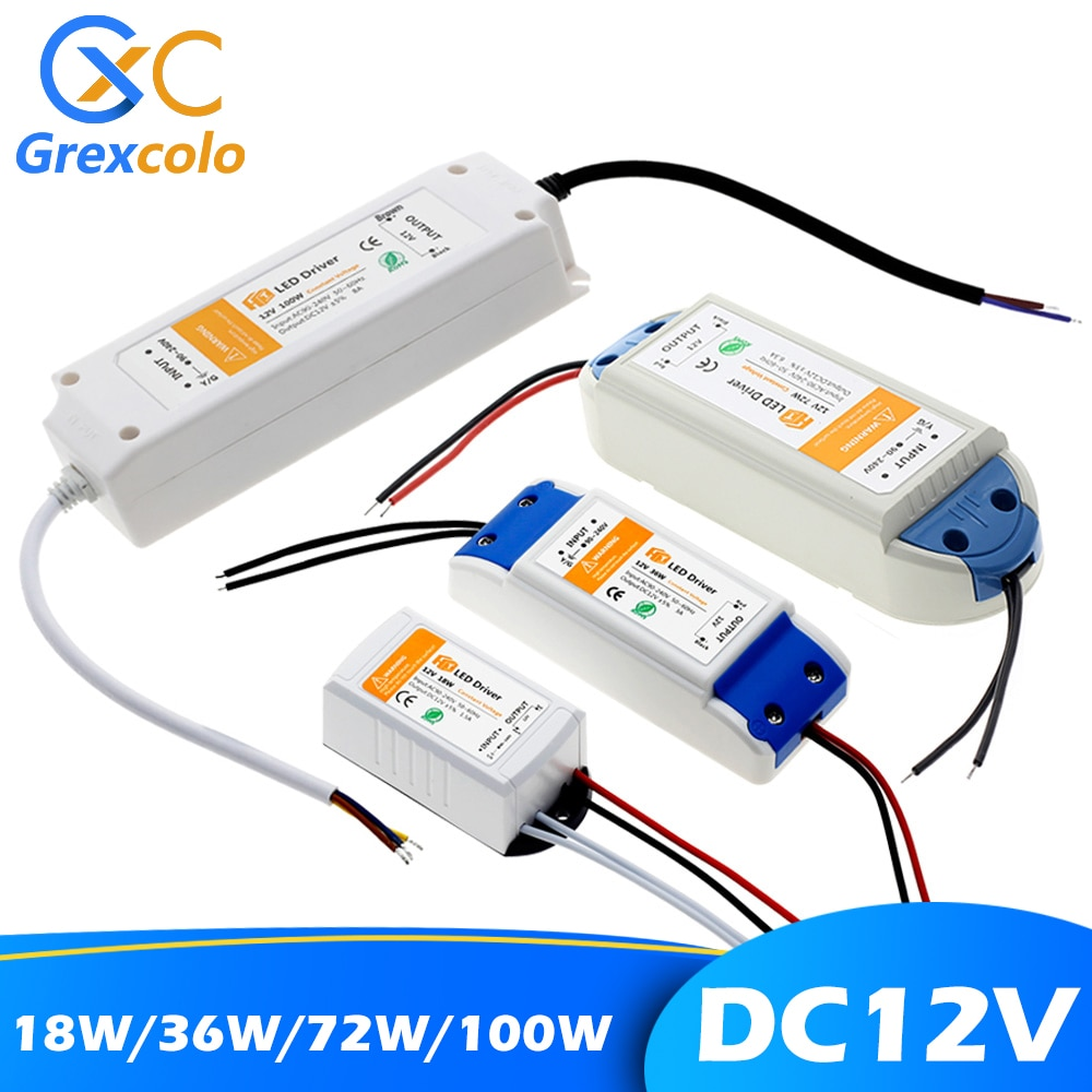 12V Power Supply Adapter 110V 220V to 12V Lighting Transformer 100W 72W 36W 18W DC 12 Volts Source L