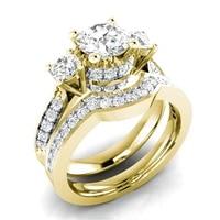 women fashion ring set exquisite rhinestones zircon ring for women bridal wedding jewelry gift size 5 6 7 8 9 10