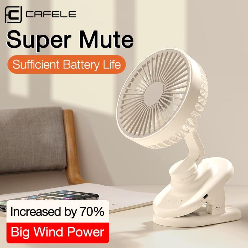 Cafele Mini Desktop Fan USB Rechargeable Summer Air Cooling Portable Clip style Desk Fan Small Mute Office Home Travel Car Fan
