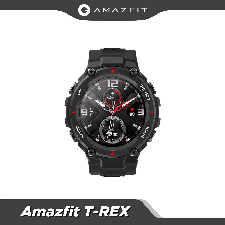 متوفر 2020 CES Amazfit T-rex T rex Smartwatch 5ATM مقاوم للماء ساعة ذكية لتحديد المواقع/GLONASS AMOLED شاشة ل iOS أندرويد