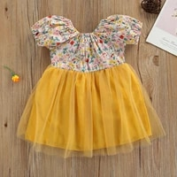 summer breathable kid dress for girl 2021 toddlers creative floral printing mesh splicing backless short sleeve princess skirt
