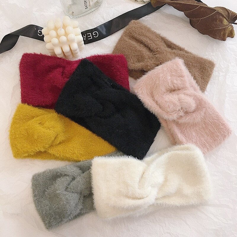 Outono inverno faux wool bandana para senhoras cruz nó quente elástico faixa de cabelo rosa moda acessórios para o cabelo feminino headwear