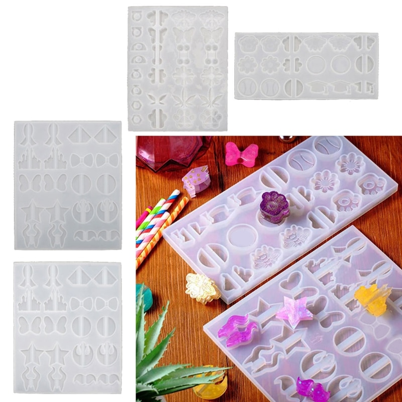 2Pcs Straw Topper Epoxy Resin Casting Silicone Mold Weed Sunflower Diamond Butterfly Paw Star Bow Bee Straw Topper Molds