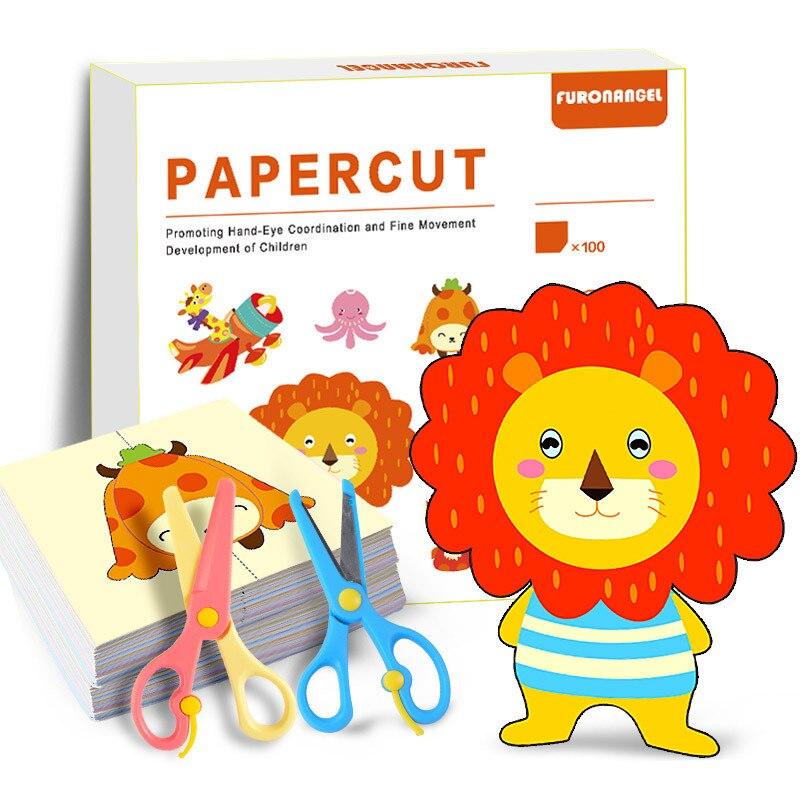 100 шт./компл. Мультяшные складные и режущие игрушки из цветной бумаги, детская книга с животными, художественное ремесло, сделай сам, образов...