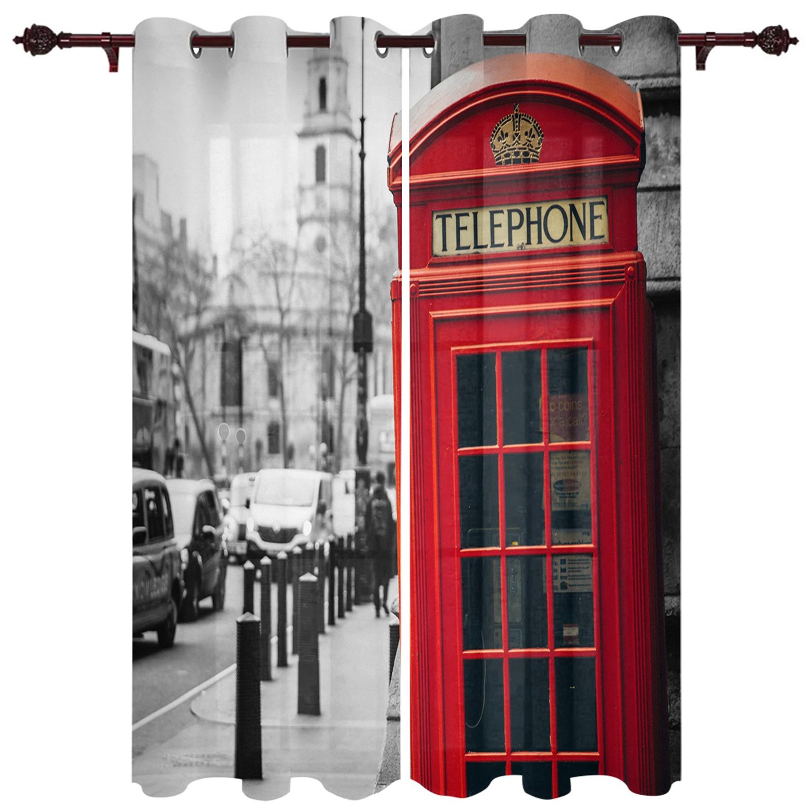 الباحة الستار الأحمر الهاتف بوث في الهواء الطلق الستار ل حديقة الباحة نوم ستائر غرفة المعيشة المطبخ حمام غرفة لوحة ثنى