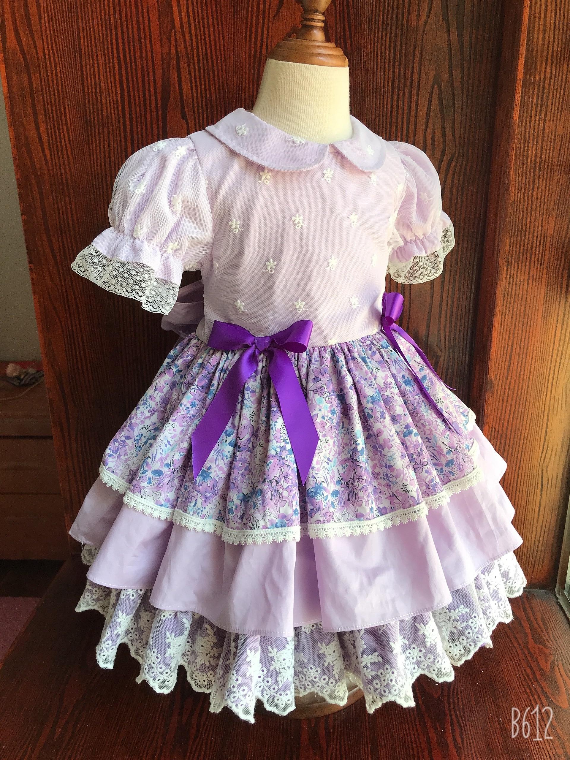 طفلة الصيف الأرجواني الأزهار التركية الإسبانية فيتتاج لوليتا الكرة ثوب الأميرة فستان لعيد ميلاد عطلة عيد
