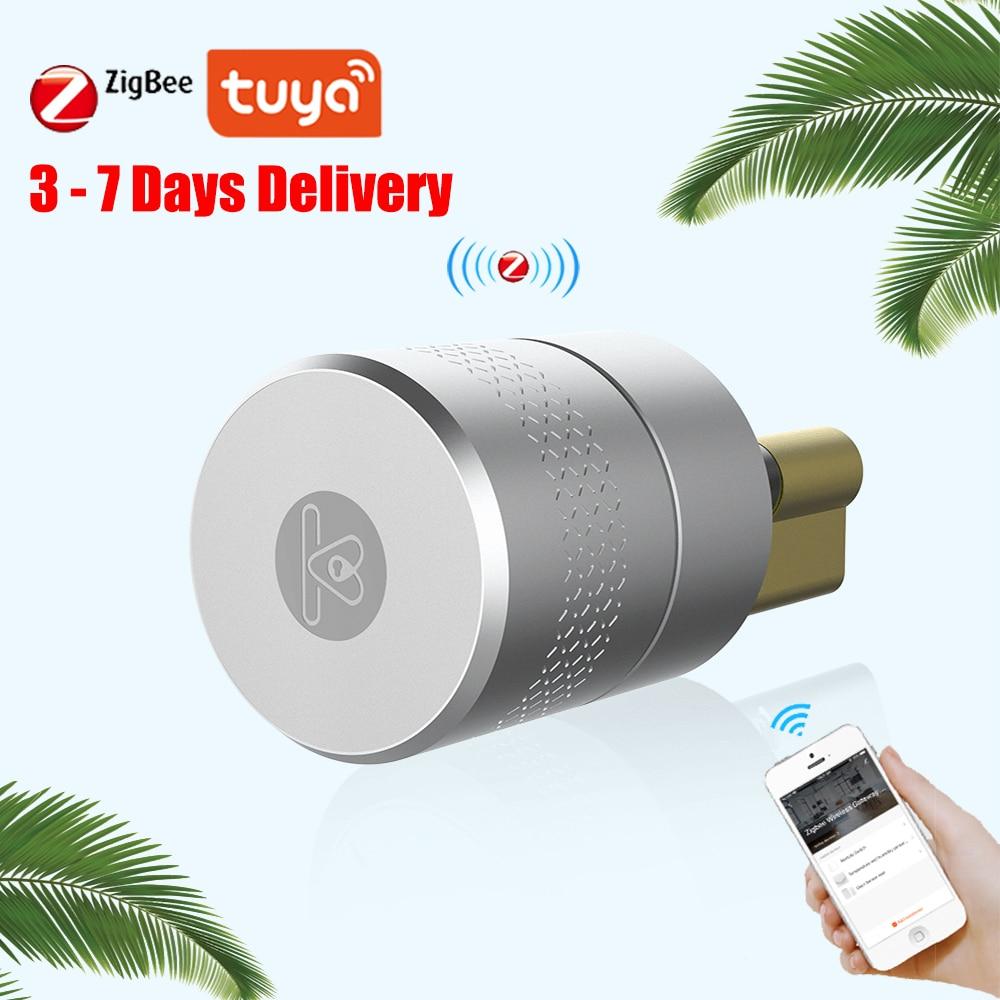 Review AIRBNK M500 Tuya Smart Door Lock Cylinder Fingerprint Smart Lock Bluetooth Zigbee Wireless Door Lock Smart Home Network Control